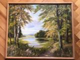 """Tablou,pictura germana in ulei pe panza,""""Lac in padure"""",semnat, Peisaje, Altul"""