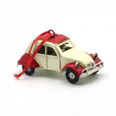 Ornament pentru bradul de Craciun masina vintage crem