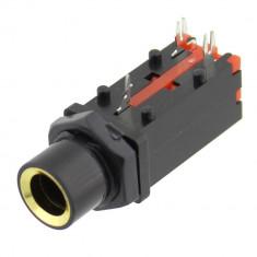 Conector jack 6,3mm, stereo, mama, pentru PCB, cu intrerupator - 121412