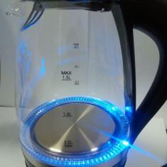 Cană fierbător electrică cu leduri albastre, Hausberg, 2200 W, capacitate 1,5 litri, bază din inox