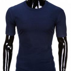 Tricou pentru barbati bleumarin simplu slim fit mulat pe corp bumbac S620