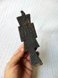 Pristolnic vechi din lemn sfasit de sec.XIX, pecetar prescurnicer deosebit