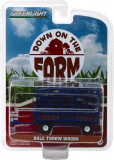 Bale Throw Wagon - Blue Solid Pack - Down on the Farm Series 2 1:64