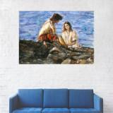 Tablou Canvas, Pictura Indragostiti la malul Marii - 80 x 120 cm
