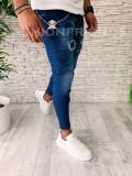 Blugi barbati albastri rupturi conici slimfit - COLECTIE NOUA  - A5208