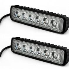 Set 2 x Proiector LED Auto Offroad 18W 12V-24V 1320 Lumeni