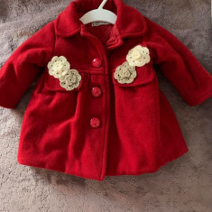 Palton fetita, 1-3 luni, Rosu
