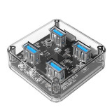 Adaptor HUB aluminiu 4-in-1 Orico BNS1 USB - 4x USB 3.0 cablu USB 1m inclus Transparent