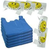 5 x Pungi plastic cu maner, rezisenta 10kg + 5 x Pungi Smiley face, 125buc/rola