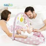 Salteluta Baby Nest cu bara jucarii Between parents Pink Dots