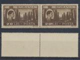 ROMANIA 1947 Mihai-Vederi 20 Lei eroare 201 Lei neuzata pereche cu normal MNH
