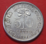 Ceylon 50 Cents 1917 VF+ detaliu argint 5.83g usor curatat, Asia