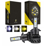 Cumpara ieftin Set becuri LED auto K9, 40W, 12000Lm, schimbare culoare 3000k, 4300k si 8000k - HB3 - 9005