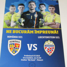 Program meci fotbal ROMANIA (U21) - LIECHTENSTEIN (U21) poster Romania