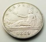 SPANIA - 2 Pesetas 1869 SN M - Argint - Guvernamant provizoriu, Europa