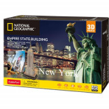 Cumpara ieftin Puzzle 3D cu Brosura Empire State Building 66 Piese, CubicFun