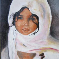 Tablou portret fata semnat Cimpoesu