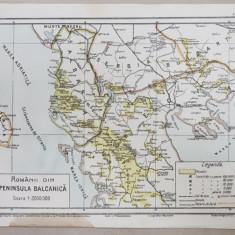 ROMANII DIN PENINSULA BALCANICA - HARTA