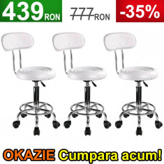 3x Scaun Salon, Taburet Alb cu Spatar, Dotari Salon Cosmetica, Coafor, Frizerie