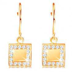 Cercei din aur 585 - pătrat plat cu diamante transparente în jurul marginii