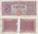 1944 (10 XII), 100 lire (P-75a) - Italia!