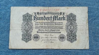 100 Mark 1922 Germania / marci germane / seria 0090759 foto