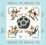 România, LP 729a/1970, C.M. de Fotbal - Mexic, bloc dantelat, eroare, MNH