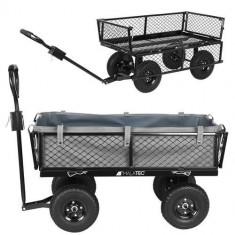Carucior Metalic Transport pentru Gradina sau Curte, cu maner, 4 Roti pneumatice, Capacitate 350kg