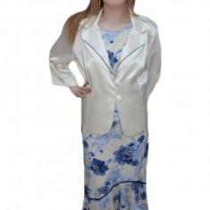Costum de ocazie, masura mare, cu imprimeu floral albastru