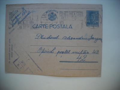 HOPCT  345 M  CENZURAT 1942 BUCURESTI -CARTE POSTALA MILITARA-CIRCULATA foto