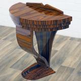 Consola Art Deco din lemn masiv furniruit AD-Console-Halbrund-BR