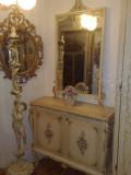 Comoda cu oglinda/set hol baroc venetian.sabby chic/vintage,pictate,Italia,lemn, Comode si bufete, Dupa 1950