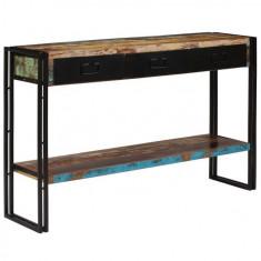 vidaXL Masă consolă, lemn masiv reciclat, 120x30x76 cm