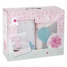 Set de pat Comfi-Dreams Lovebirds 843022, pentru bebelusi, 2 piese