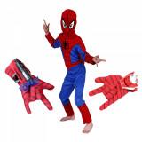 Cumpara ieftin Set costum Spiderman M, 110-120 cm si doua manusi cu ventuze si discuri, rosu