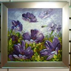 Tablou pictat manual pe panza in ulei Peisaj Flori Mov A-220, Natura, Realism