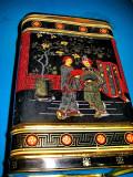7998-Cutie ceai mare vintage deosebita metal China-Anglia.