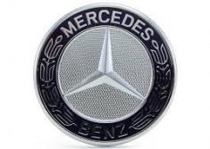 Emblema capota mercedes benz 57 mm negru cu silver foto