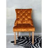 Scaun din lemn masiv natur cu tapiterie din catifea maro deschis SNA521, Scaune, Baroc