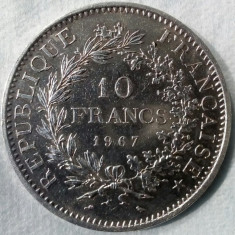 10 FRANCI 1967,FRANTA, ARGINT, 25 GRAME,  FOARTE FRUMOASA !!