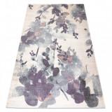 Covor KAKE 25815067 Flori, Frunze fildeş / violet / gri, 160x230 cm