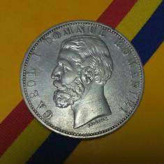 SV * Romania  5  LEI  1880 * ARGINT .835 * Regele Carol I   *   frumoasă foc !