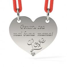 Pandantiv Inimioara cu Snur reglabil din Argint 925 personalizabil