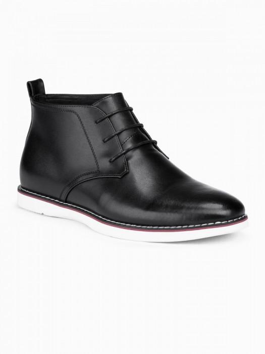 Pantofi piele naturala barbati - T318-negru