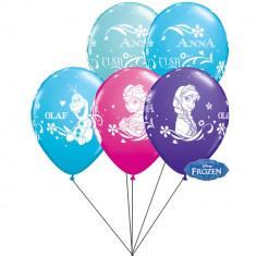 Buchet din baloane latex asortate Frozen cu heliu, Qualatex BB 18675