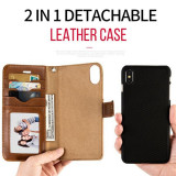 Husa de telefon detasabila din piele, cu clapa si suport magnetic pentru masina, pentru iPhone X/8P/8/7P/7/6P/6