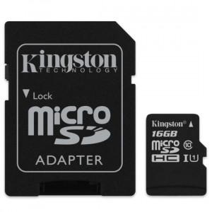 Card de Memorie MicroSD HC Kingston Canvas Select 16 GB Clasa 10 Viteza citire 80MBs Adaptor SD
