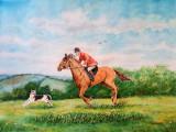 Acuarela scena vanatoare englezeasca de vulpi, Scene gen, Realism