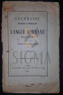 J.-A. VAILLANT - GRAMMAIRE, DIALOGUES & VOCABULAIRE DE LA LANGUE ROMMANE DES SIGANS foto