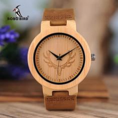 Ceas din lemn Bobo Bird cu curea din piele, D15